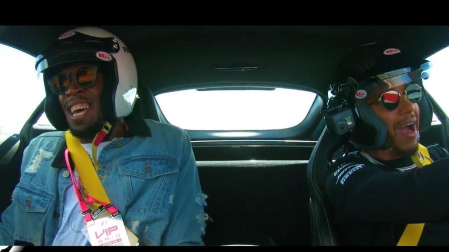 Usain Bolt e Lewis Hamilton se divertem em carro de passeio em circuito nos EUA - Reprodução/F-1