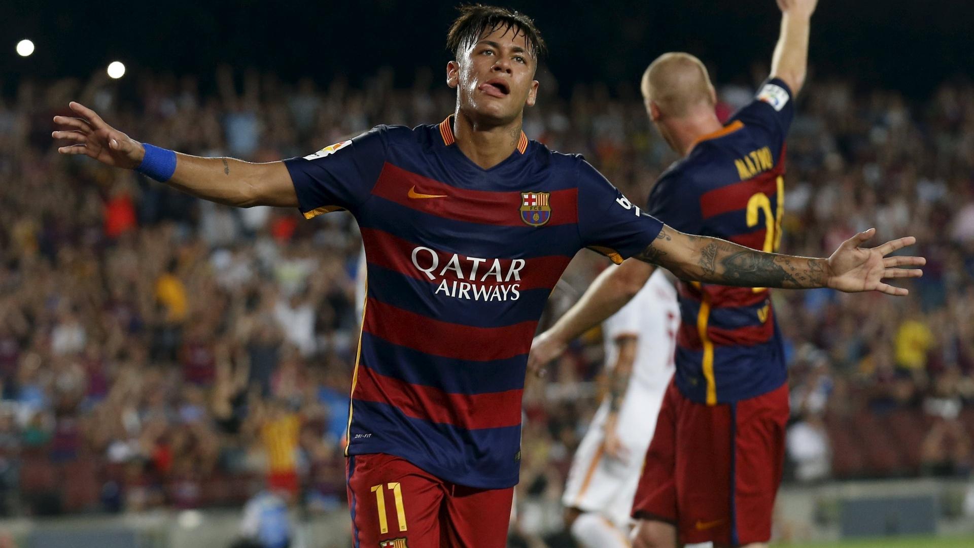 Neymar comemora gol pelo Barcelona contra a Roma, em agosto de 2015