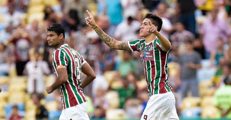 O atacante Pedro comemora gol do Fluminense diante do Cruzeiro, no Maracanã