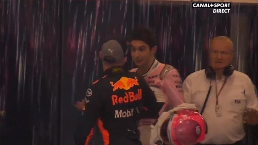 Esteban Ocon (Force India) e Max Verstappen (Red Bull) se desentendem após GP do Brasil - Reprodução