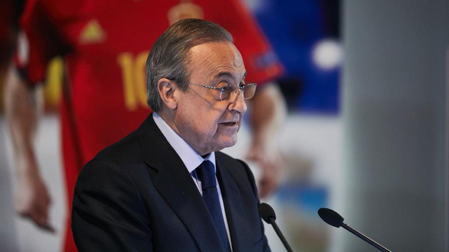 Florentino Perez, presidente do Real Madrid, durante a apresentação de Brahim Díaz - A. Ware/NurPhoto via Getty Images