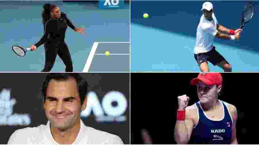 Montagem com fotos de Novak Djokovic, Roger Federer, Serena Williams e Ashleigh Barty - Montagem com fotos de Reuters