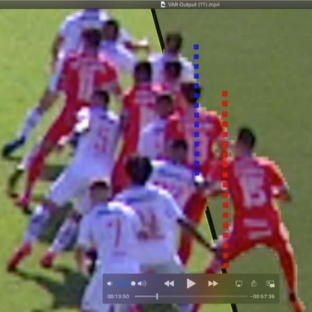 Linha mostraria que Rodrigo Dourado estaria à frente no lance do gol do Internacional - Reprodução