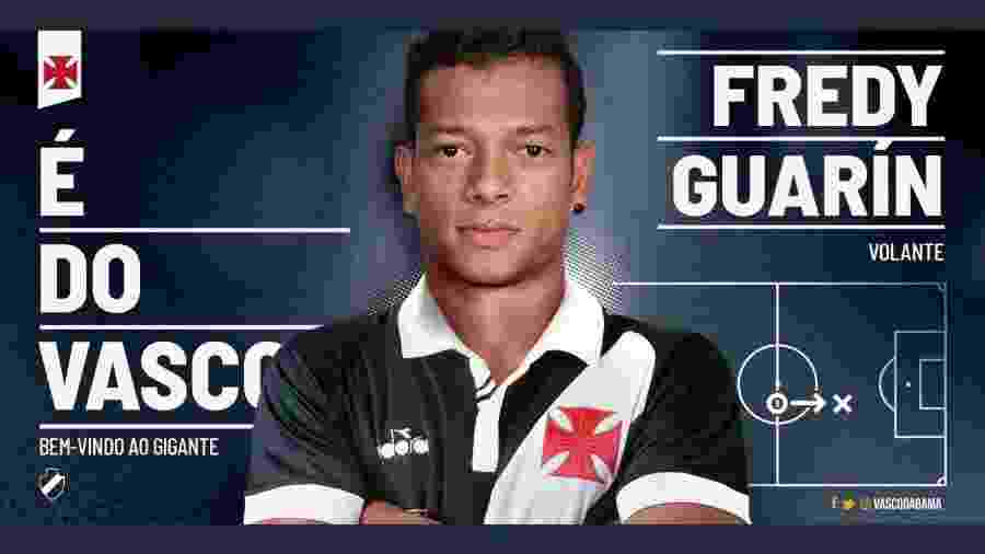 Vasco anunciou o volante colombiano Fredy Guarín, de 33 anos, ex-Inter de Milão e Porto - Reprodução / Twitter do Vasco
