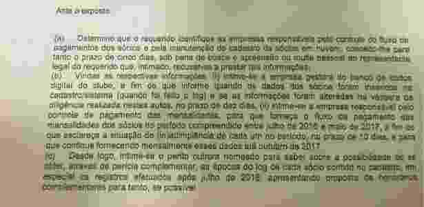 Trecho da decisão judicial em relação à lista de sócios do Vasco - Divulgação - Divulgação