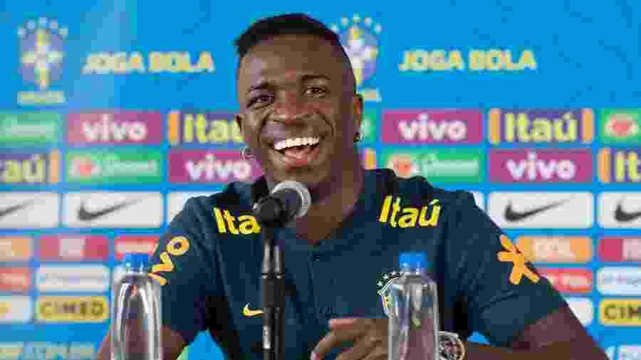 Vinícius Júnior, atacante do Real Madrid, durante entrevista coletiva da seleção brasileira - Lucas Figueiredo/CBF