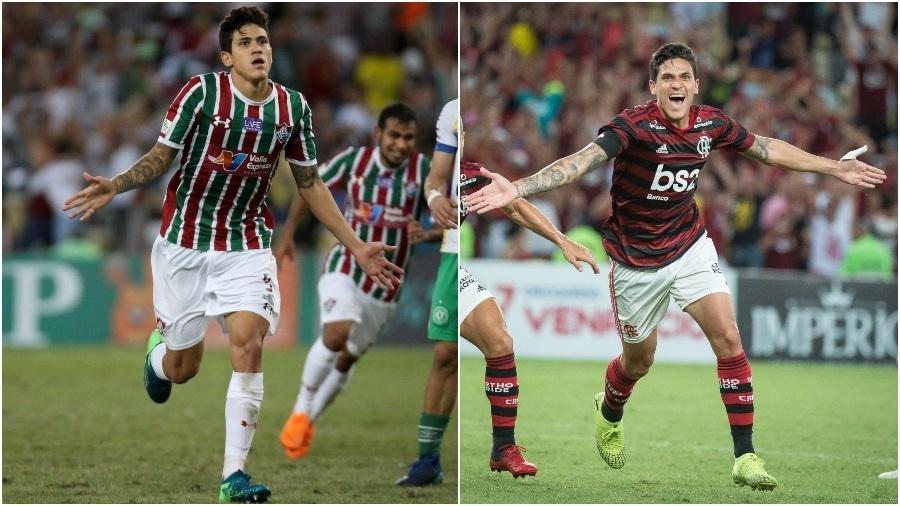 Pedro despontou para o futebol no Fluminense e, hoje, defende o rival Flamengo - Colagem de fotos de Lucas Merçon / Fluminense e Alexandre Vidal / Flamengo