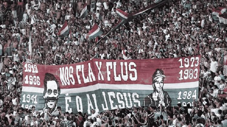 Torcida do Fluminense costuma provocar Flamengo com histórico favorável em finais - Reprodução/Twitter - Reprodução/Twitter