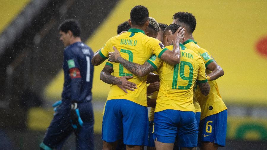 Seleção brasileira comemora gol contra a Bolívia na Neo Química Arena e coroa atuação de gala nas Eliminatórias - Lucas Figueiredo/CBF