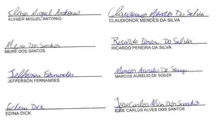 Assinaturas no relatório da Jumper para o CE Jardim Sabará em agosto - Reprodução/Arte UOL - Reprodução/Arte UOL