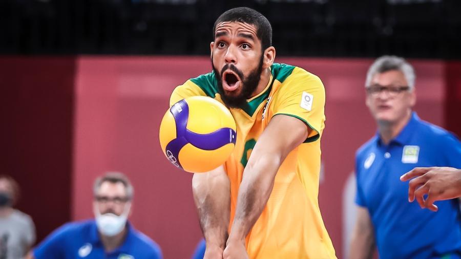 Com 13 pontos, o oposto Wallace foi o maior pontuador do Brasil na estreia contra a Tunísia - Gaspar Nóbrega/COB/Gaspar Nóbrega/COB