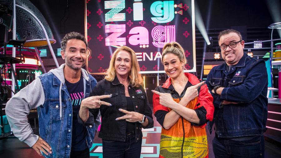 Fernanda Gentil com Marco Luque , Hortencia e Everaldo participam do Zig Zag Arena - Globo/João Cotta