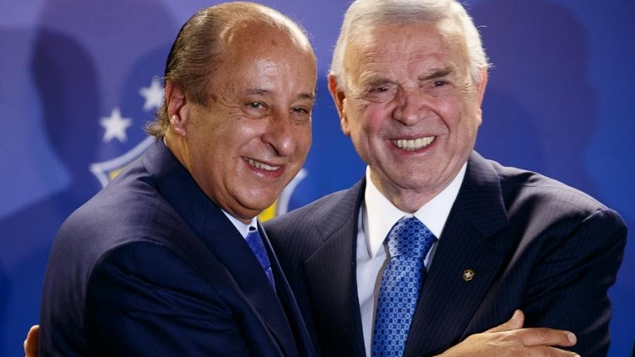 Del Nero (esq) viu Marin (dir) ser preso, e evita deixar o Brasil; Teixeira também não vai ao exterior - Daniel Marenco