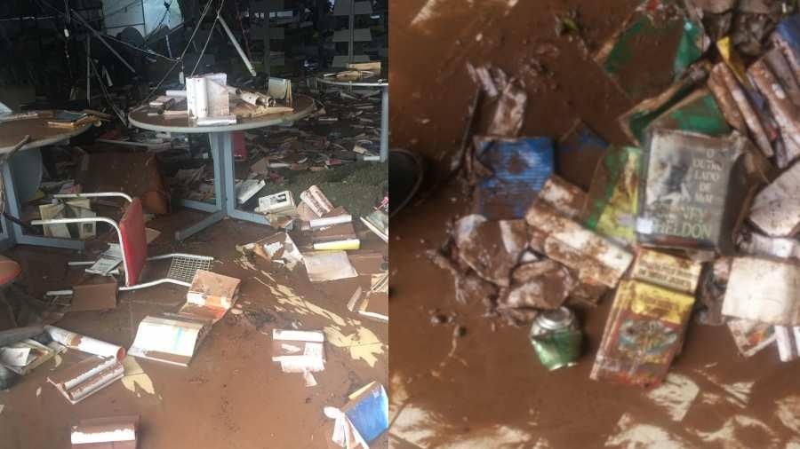 Biblioteca do São Paulo foi destruída nas chuvas que alagaram o clube social no Morumbi - Divulgação