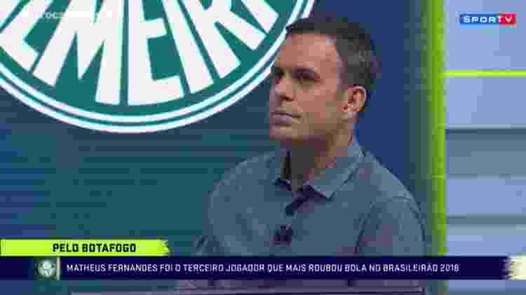 Tiago Maranhão durante programa Troca de Passes, do SporTV, em 2018 - Reprodução