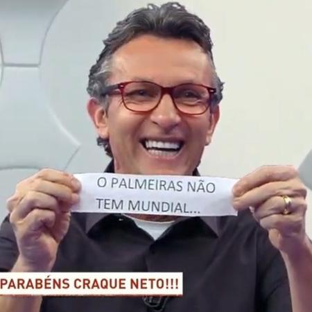 """Neto comemora 53 anos e alfineta Palmeiras com bilhete: """"Palmeiras não tem Mundial"""" - Reprodução/Band"""