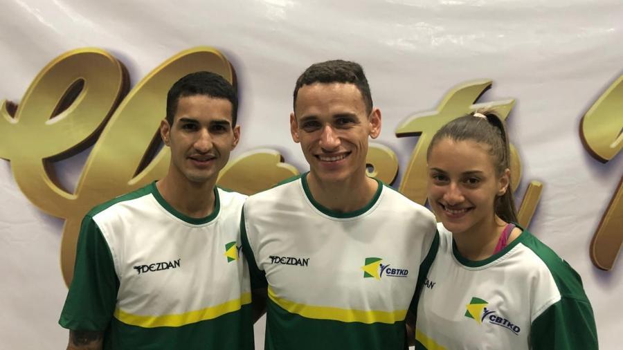 Netinho, Ícaro Miguel e Milena Titoneli, brasileiros classificados para a Olimpíada no taekwondo - Divulgação