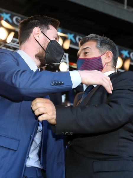 Messi e o novo presidente do Barcelona, Joan Laporta - Reprodução