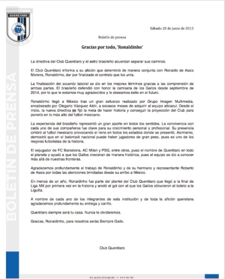 Comunicado do Querétaro, anunciando a saída de Ronaldinho Gaúcho
