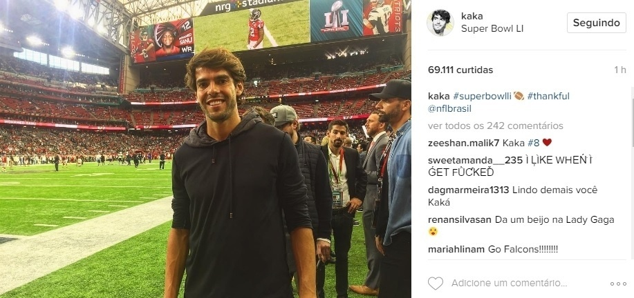 O brasileiro Kaká, meia do Orlando City, time da MLS, é mais uma personalidade presente no Texas para o Super Bowl 51