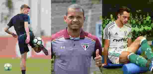 Marlone (foi para o Atlético-MG), Edimar (São Paulo) e Hyoran (Palmeiras) - Fotomontagem:Robson Ventura/Folhapress Divulgação São Paulo e Palmeiras