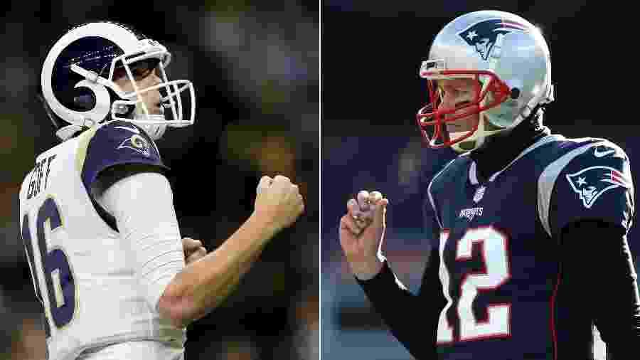 Montagem com fotos de Jared Goff, do Los Angeles Rams, e Tom Brady, do New England Patriots - Jonathan Bachman e Adam Glanzman/Getty Images/AFP