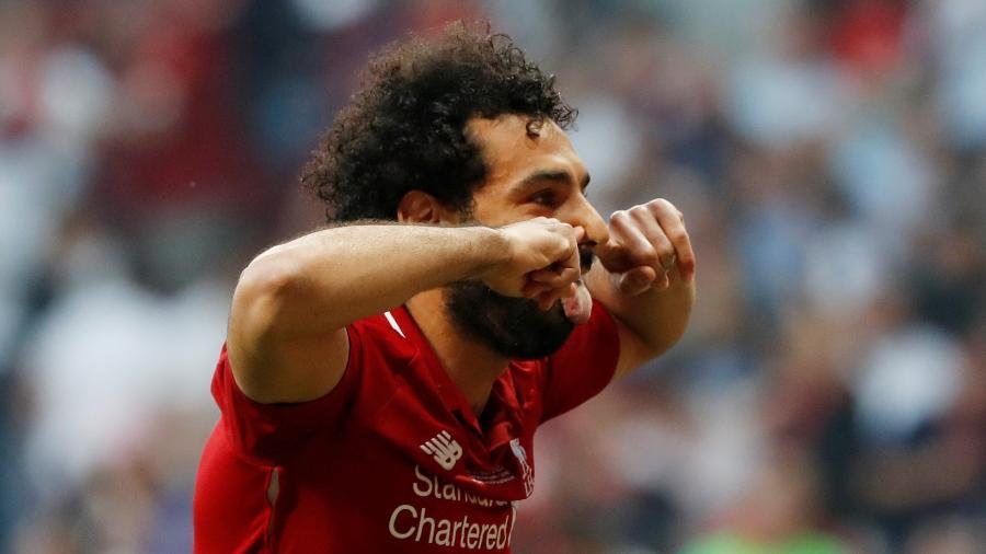 Salah comemora o gol que abriu o placar da final da Liga dos Campeões - REUTERS/Susana Vera