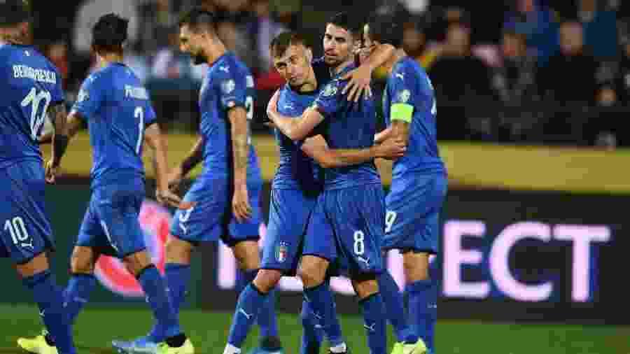 Seleção italiana comemora vitória contra Finlândia pelas Eliminatórias da Eurocopa 2020 - Divulgação/UEFA