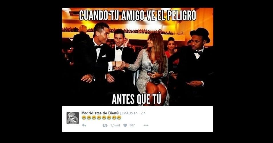 """A foto do trio Messi, Cristiano Ronaldo e Neymar com Antonella, esposa de Messi: """"Quando o seu amigo vê o perigo antes de você"""""""