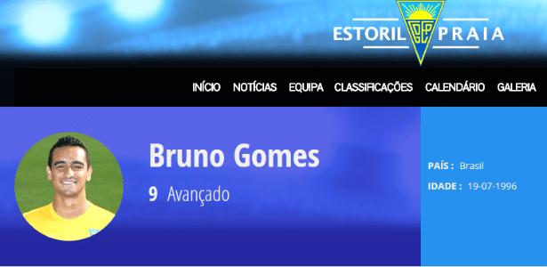 Bruno Gomes no site oficial do Estoril, de Portugal. Inter não reconhece