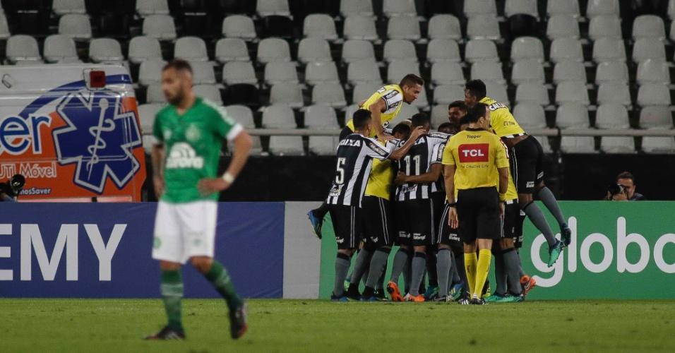 Jogadores do Botafogo comemoram gol de Marcinho diante da Chapecoense