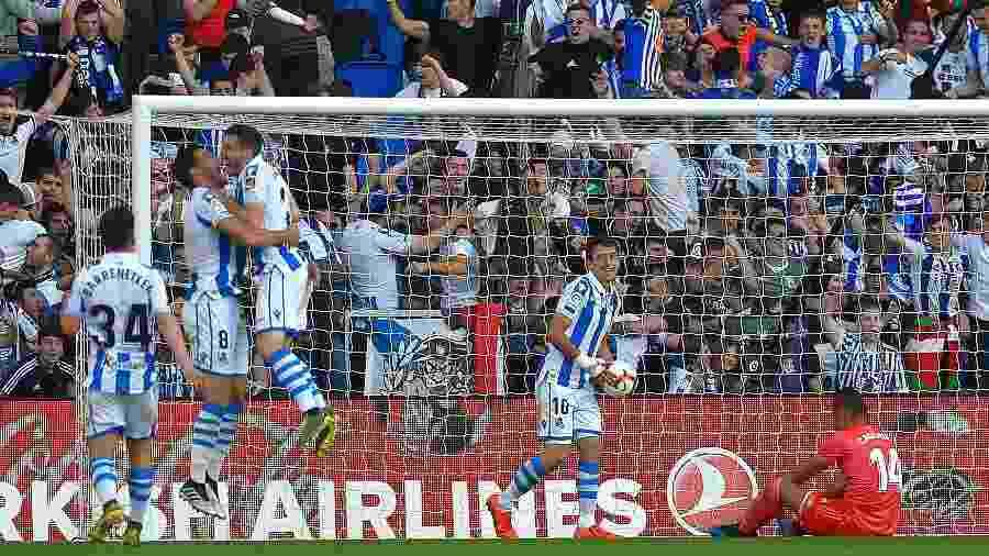 Real Sociedad comemora gol em cima do Real Madrid - Ander Gillenea/ AFP