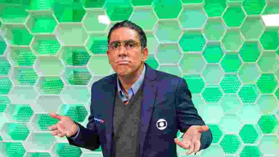 Marcelo Adnet grava quadro de humor caracterizado como Galvão Bueno - Divulgação/TV Globo