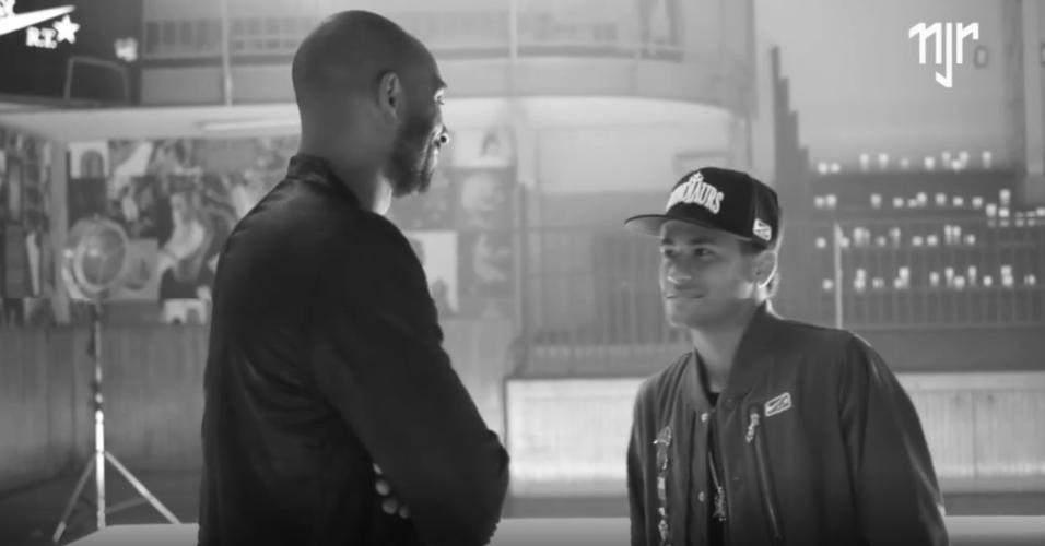 Neymar com o ídolo, Kobe Bryant