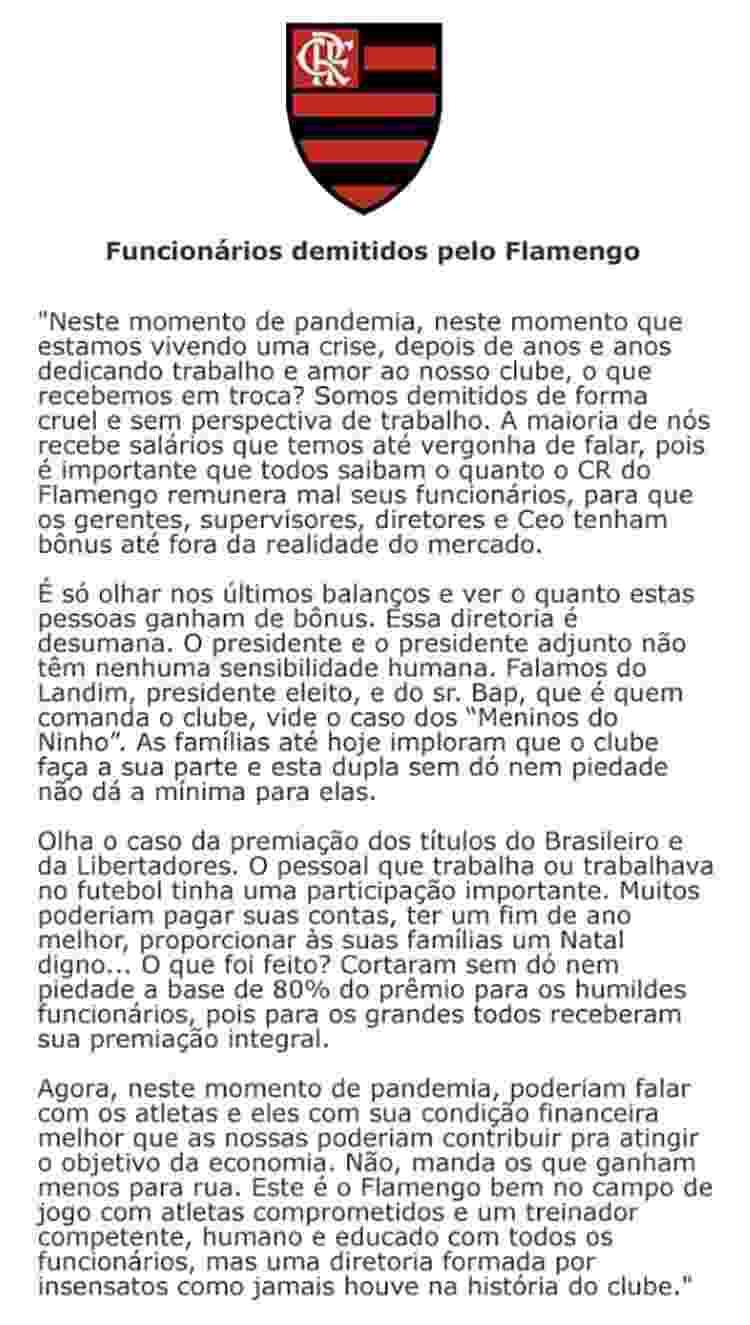 Carta de funcionários do Flamengo sobre ação do clube durante a pandemia - Reprodução - Reprodução