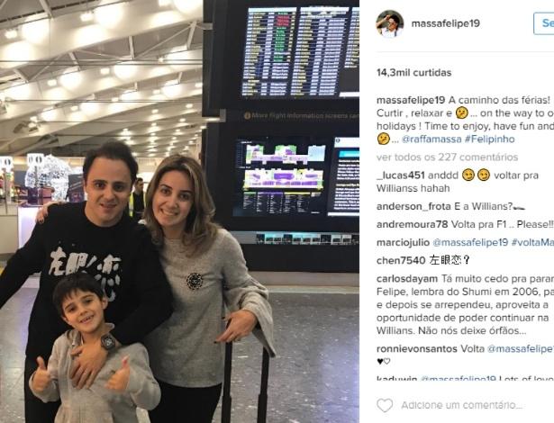 Massa postou nas mídias sociais mensagem misteriosa ao sair de férias, nesta quinta-feira - Reprodução/Instagram