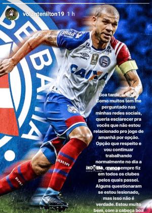 Nilton justifica ausência do Bahia no jogo contra o Flamengo - Reprodução/Instagram