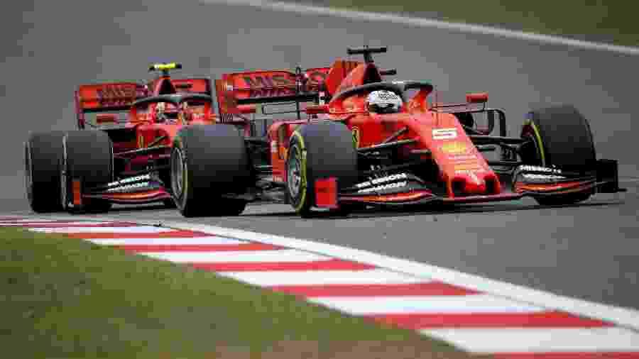 Sebastian Vettel e Charles Leclerc, pilotos da Ferrari - Thomas Peter/Reuters