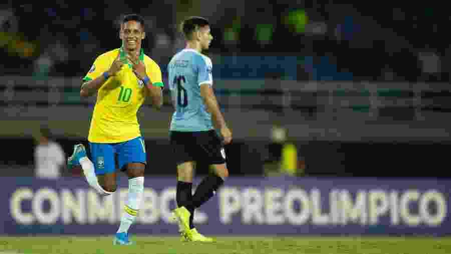 Pedrinho abriu o placar para o Brasil diante do Uruguai, pelo Pré-Olímpico - Lucas Figueiredo/CBF
