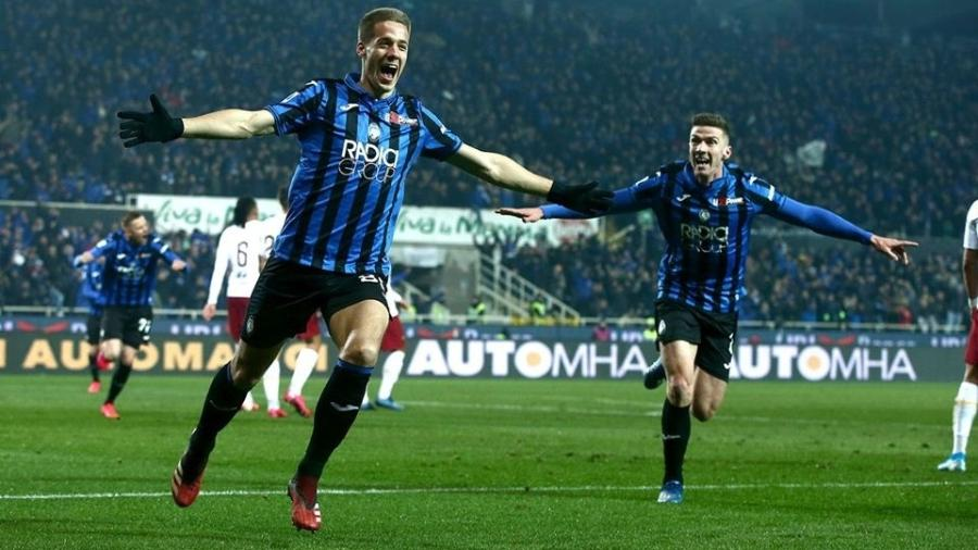 Jogadores da Atalanta comemoram gol no Campeonato Italiano - MCerescioli/Divulgação