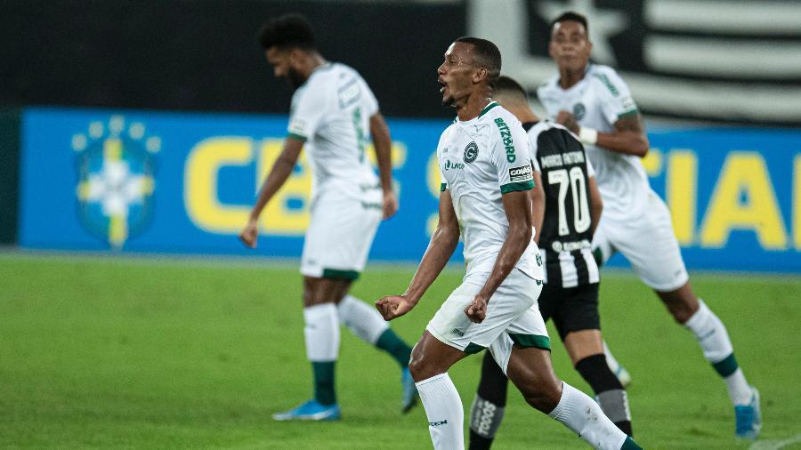 Goiás comemora primeiro gol em jogo contra o Botafogo pela Série B - Jorge Rodrigues/AGIF