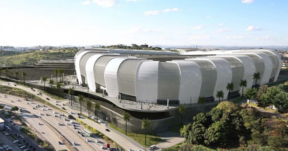 Projeção de como vai ficar no estádio do Atlético, no bairro Califórnia, em Belo Horizonte