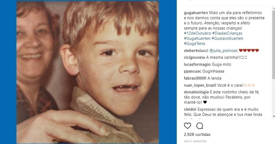 Guga posta foto quando ainda era criança