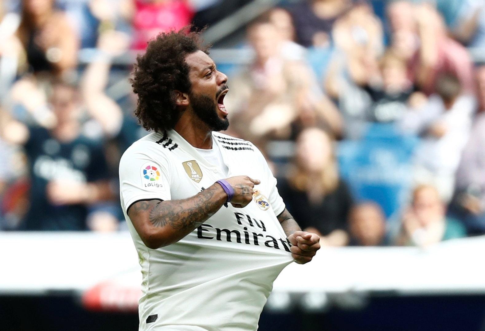 Marcelo comemora seu gol durante Real Madrid x Levante, neste sábado