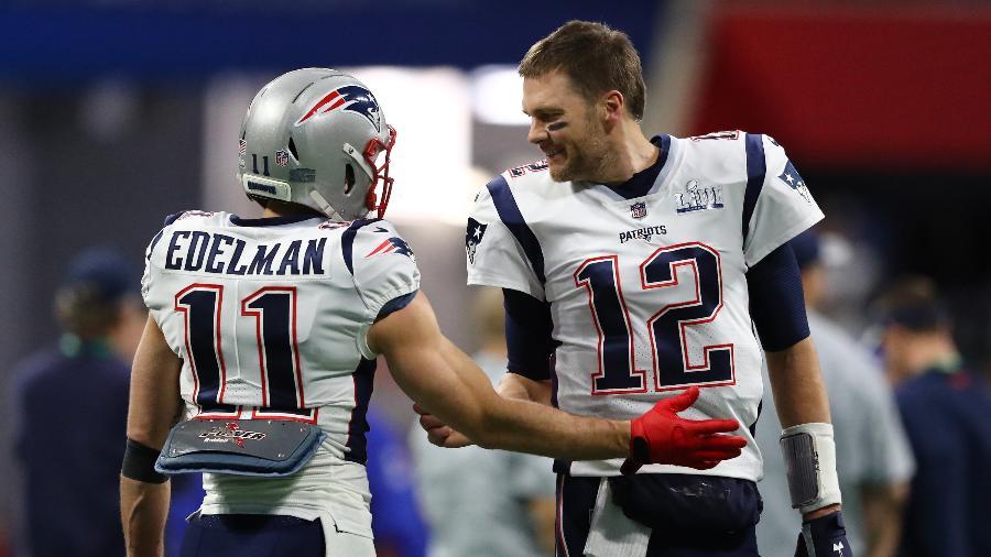 Tom Brady e Julian Edelman do New England Patriots durante o Super Bowl LIII - ZUMAPRESS