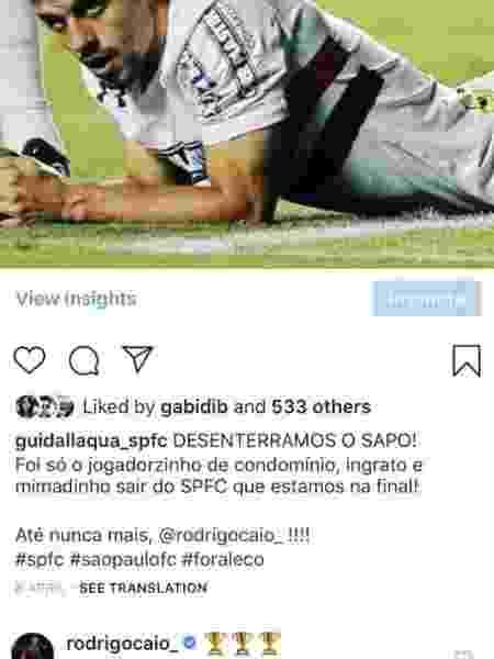 Rodrigo Caio rebate crítica de são-paulino após título pelo Flamengo - Reprodução/Instagram