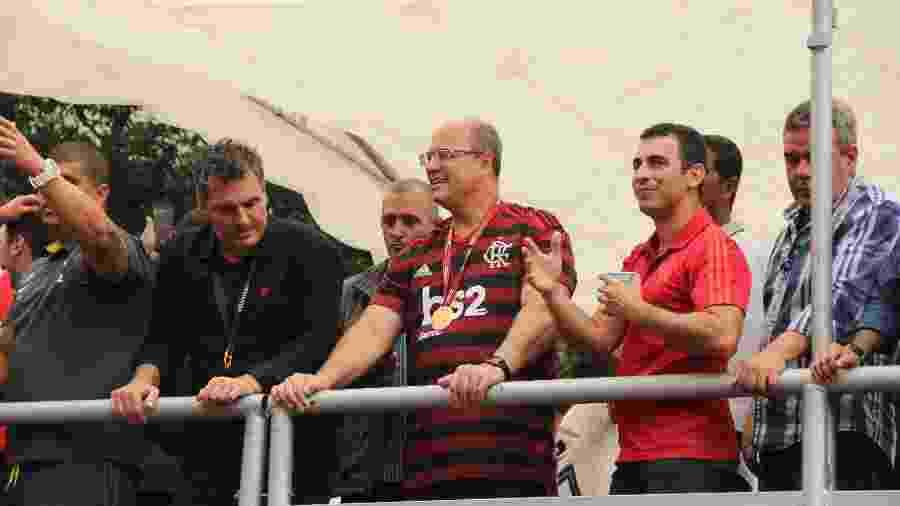 Declaradamente corintiano, o governador do Rio de Janeiro, Wilson Witzel (PSC), participou da celebração dos jogadores do Flamengo - FAUSTO MAIA/AGÊNCIA O DIA/ESTADÃO CONTEÚDO
