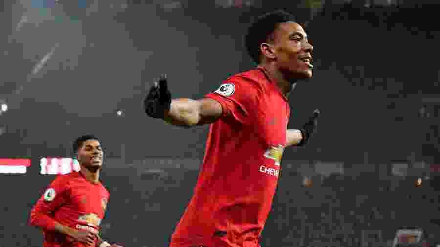Martial comemora gol do Manchester United contra o Newcastle - Paul ELLIS / AFP