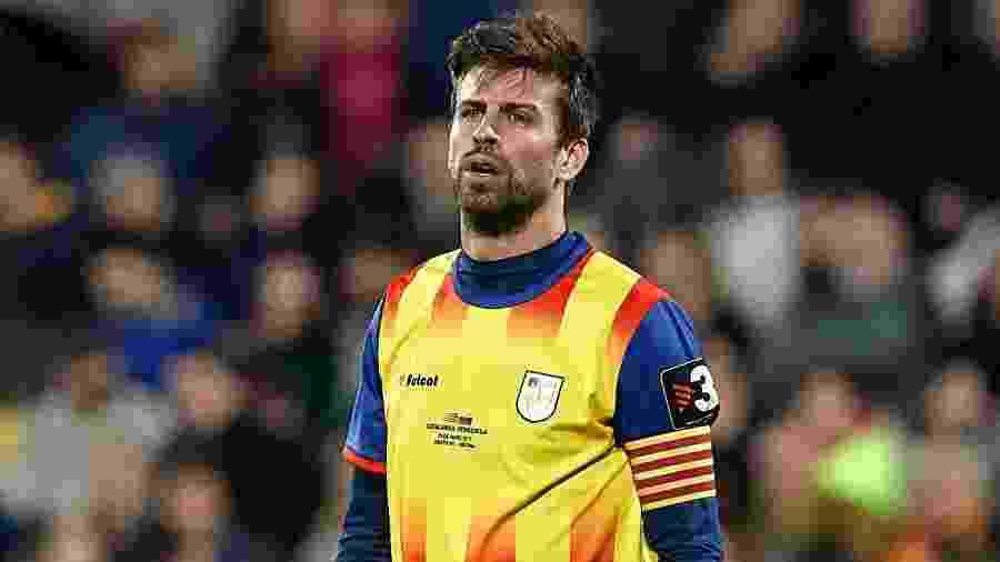 Gerard Piqué, em ação pela seleção da Catalunha, região que sonha com independência da Espanha - Getty Images