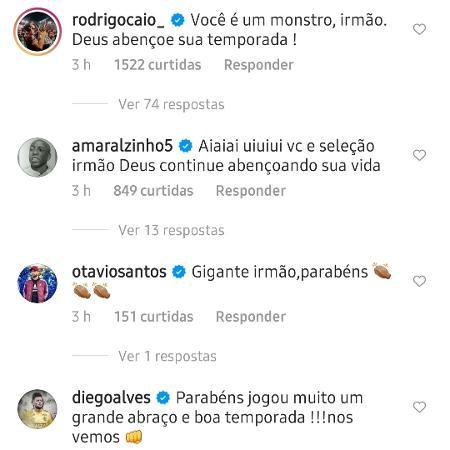 Rodrigo Caio e Diego Alves elogiam Weverton, goleiro do Palmeiras - Reprodução/Instagram